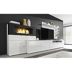 SelectionHome - Mueble salón comedor con chimenea de bioetanol, acabado Blanco Mate y Blanco Brillo Lacado, medidas: 290 x 170 x 45 cm de fondo
