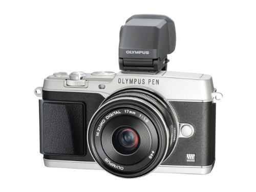 Olympus E-P5 Systemkamera (16 Megapixel, 7,6 cm (3 Zoll) Touchscreen, HDMI, WiFi) inkl. 17mm 1:1.8 Objektiv Kit und hochauflösender VF-4 elektronischer Sucher Silber Olympus Imaging Kit