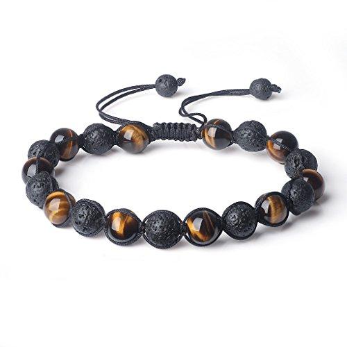 COAI® Shamballa Bracelet Ajustable Perles Mals Pierres Véritables Semi-Précieuses 8mm Pierre de Lave Œil de tigre Jaune Unisexe