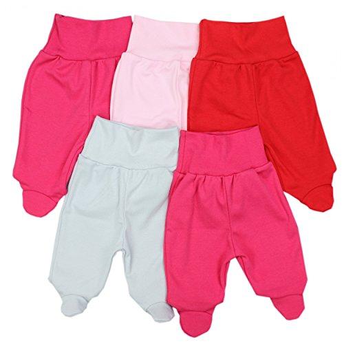 TupTam Unisex Baby Strampelhose mit Fuß 5er Pack, Farbe: Mädchen 2, Größe: 74