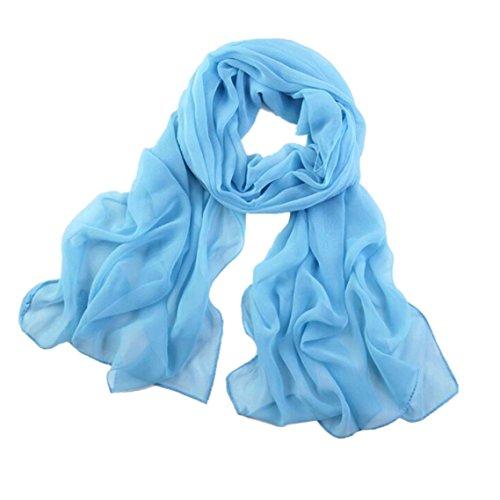 BZLine® Frauen lange weiche Wrap-Dame Shawl Chiffon- Schal, 160*50cm (Himmelblau) (Chiffon-schal Der Frauen)
