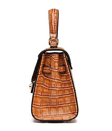 Xinmaoyuan Borse donna vera pelle Lady sacchetti spalla portatile Messenger coccodrillo Borsa Pattern,Nero Giallo