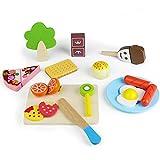 Taglio Frutta e Alimenti Legno Cucina Giocattolo per Bambini 25 PCS Giochi in Legno Magnetico Giocattoli da Tagliare Accessori Cucina di Simulazione Gioco Educativo d'Apprendimento per Ragazzi Ragazze