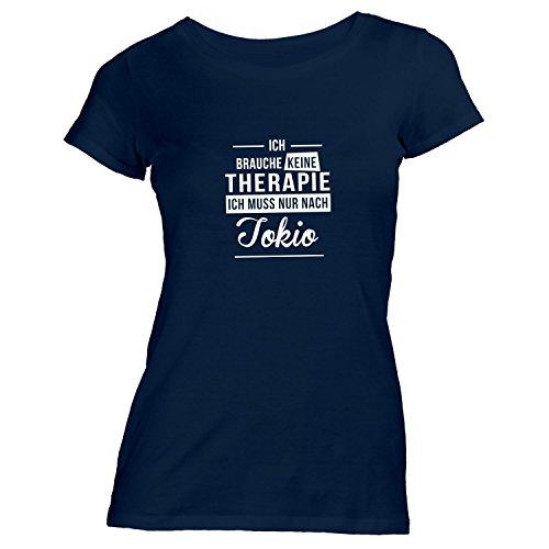 Damen T-Shirt - Ich Brauche Keine Therapie Tokio - Therapy Urlaub Japan Navy