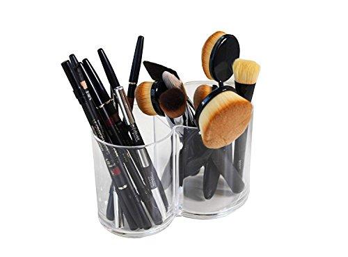2 connecté logement Compartiment clair en acrylique Transparent Cosmétique Organiseur Maquillage et bijoux Organiseur support pour brosse