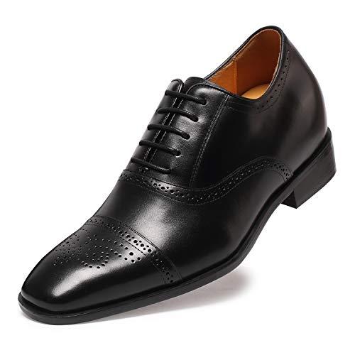 CHAMARIPA Herren Oxford Wingtip Elevator Schuhe aus Kalbsleder Schn¨¹rhalbschuhe - 7 cm h?her - K6531 ¡ (Oxford Wingtip Schwarz)