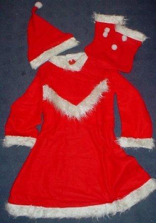 Toyland® Ladies Christmas Santa Anzug mit Kleid, Gürtel, Hut und Stiefeln