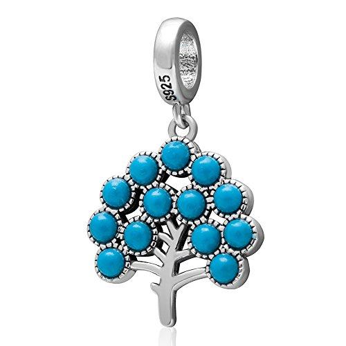 Albero della vita argento massiccio sterling 925ciondoli albero con cordone turchese pendente chakra reiki healing pietra naturale