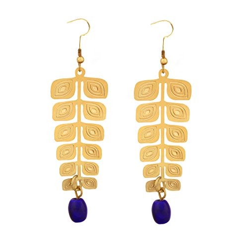 STRIPES Presents New Collection Brass Leaf Design With Blue Beads Gold Colour Handmade Hanging Dangle And Drop Earrings For Girls / Women  available at amazon for Rs.250
