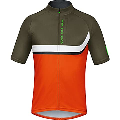 Gore Bike Wear Spowes Power Trail Maglia, Uomo, Arancione (Blaze Orange/Ivy Green), L