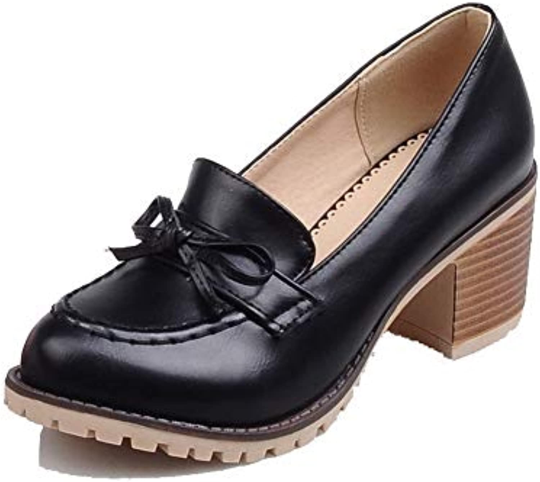 8da6ca3fde3 AgooLar B07H89PJS3 Women s Pull-On Kitten-Heels PU Solid Solid Pumps-Shoes
