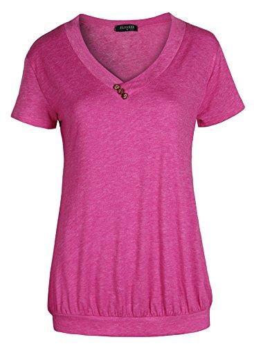 3143d5c0a743 Fleasee Damen Frauen Casual T-Shirt Kurzarm Stretch Falten Tunika Bluse  Sommer Obteile Shirts mit Knöpfen V-Ausschnitt (Roserot Gr.L)
