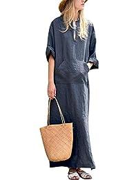 798a5fd197f9f8 MAGIMODAC Damen Maxikleid Sommerkleid Strandkleid Freizeit Kleider Boho  Party Kleid Lang 36 38 40 42 44
