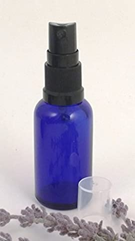 Packung mit 3 x 30ml Blau Glas York Flasche mit SCHWARZ Zerstäuber/Zerstäuber Kappe. Passend für Aromatherapie, Kunst, Basteln, Erste Hilfe, Reisegröße Spray, Insekt Schutzmittel Spray, Gesichts- spritzer Usw.