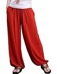 Aivtalk - Pantalones de Pierna Ancha Bombachos Pantalones Harem de Lino para  Mujeres Yoga Fitness Vida 25881072247f