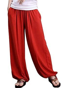 Aivtalk - Pantalones de Pierna Ancha Bombachos Pantalones Harem de Lino para Mujeres Yoga Fitness Vida Cotidiana...