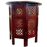 Table d'appoint 53cm Guéridon avec plateau sur pied octogonal meuble salon incrustations en laiton
