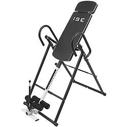 ISE Banco de Inversión Gravitacional Plegable, Tabla de Inversión Gravedad para 180 ° Ejercicios en Casa, Mesa de Inversión Espalda Invertida Ajustable 155-195cm, Máx 135 kg, Negro SY-ES1012