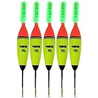 5 pcs 10 G EVA flotadores + 10 piezas pesca Glow Sticks largo vertical luminoso noche Iluminación flotadores de pesca Bobber Set