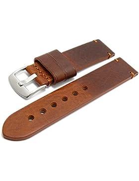 Meyhofer Uhrenarmband Ludwigsburg 22mm hellbraun/rotbraun Leder glatt robust abgenäht MyHeklb131/22mm/rotbraun...