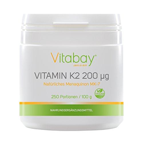 Portionen 200 Kapseln (Vitamin K2 Pulver - Menaquinon 200 µg - 99,99% trans-form - Cis-Anteil 0% - veganes Pulver 250 Portionen ohne Kapseln)