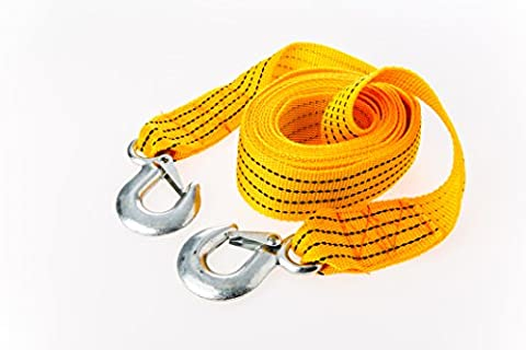 Arc Premier Tow Rope : An Extra Strong Towing Strap For Cars – Vehicle Pulling Belt With Safety Steel Hooks – Heavy Duty Thick Cord For Emergency Recovery – 4 Ton Capacity And 3.6 Meters Length In