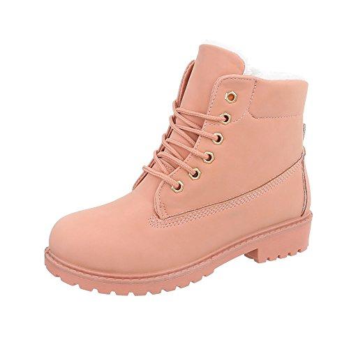 Ital-Design Stiefel & Boots Kinder-Schuhe Klassischer Stiefel Blockabsatz Mädchen Schnürsenkel...