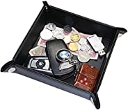 YOUBAMI Leather Valet Tray, Desk Bedside Holder Tray Catchall Jewelry Tray Dice Box Bedside Tray Key Phone Coi