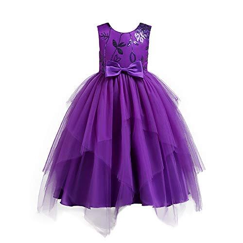 Lazzboy Karneval Tutu Kleid Kleidung Kind Mädchen Spitze Bowknot Prinzessin Wedding Performance (Höhe 110,Lila)