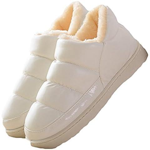 CNYYWISHSTYLE unisex color puro de la PU de cuero zapatos de invierno cubierta a prueba de agua tibia talón