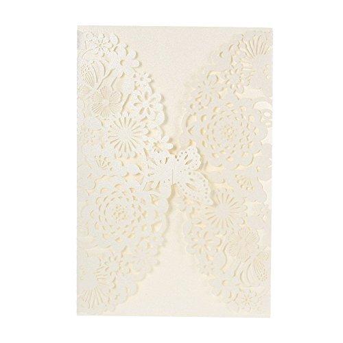 Anself 20 Stück Hochzeit Einladungskarten mit Schmetterling Spitze Design