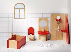 Goki 51717 Accesorio para casa de muñecas Dollhouse Bathroom - Accesorios para Casas de muñecas (Dollhouse Bathroom, Play Dollhouse, Madera,, 3 año(s), 400 g)
