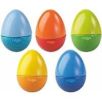 Haba 7733 - Musikeier, 5 farbenfrohe Rasseleier, aus Holz, zur Förderung der musikalischen Entwicklung von Babys und Kleinkindern ab 2 Jahren