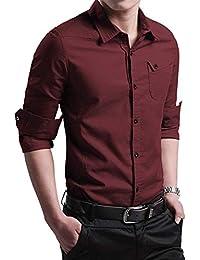 Camisa de Slim Fit Hombre Manga Larga Color Sólido Casual Clásico de la  Camisa Formal Negocios 5534ed7b766a7