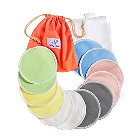 Reusable Nursing Pads 12 Pack | Organic Bamboo | Laundry & Travel Bag | Breastfeeding & Sleeping Guide | Softest Breast Pads by BabyVoice