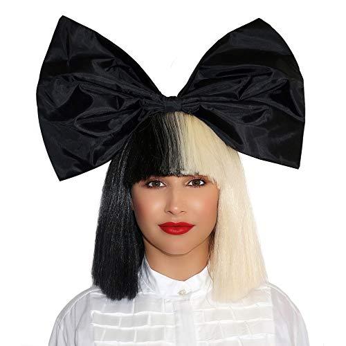 (OFFICIALLY LICENSED Sia Kostüm Perücke 2 Ton Halb Blonde Black Bob Perücke mit Synthetisches Haar Premium Qualität und mit Schwarzem Bogen SIA Cosplay Perücken)