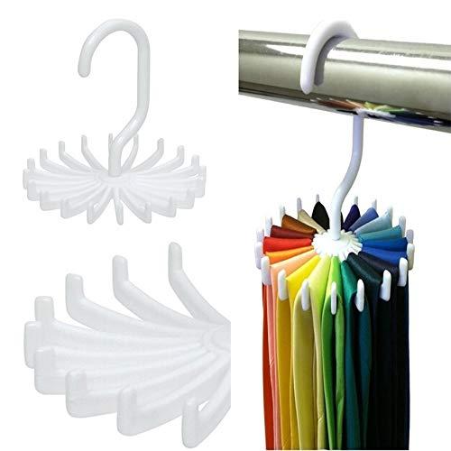 Krawatte Gürtel Mini (qiumeixia1 Mini Kunststoff Krawattenhalter 20 Krawatten/Gürtel/Schals Hält Aufhänger Rotierenden Haken Weiß Krawattenhalter Lagerregale Wäsche Organizer 5 Stücke Neueste)