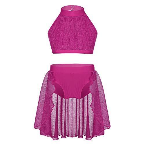 Agoky Kinder Mädchen Ballett Kostüm Tanz Outfits ärmellos Crop Top mit Unterteile 2 PCS Set Tanzkleid Gymnastik Turnanzug Lyrical Dancewear Rose 140-146 2 Pcs Set-top-outfit