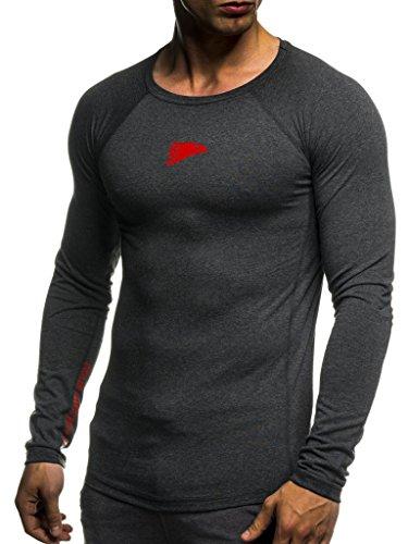 Leif Nelson Gym Herren Fitness Shirt Rundhals-Ausschnitt Slim Fit Langarm Männer Trainingsshirt Top Rundkragen Sport Sweatshirt - Hoodie für Bodybuilding Training 6283 Anthrazit-Rot Large -