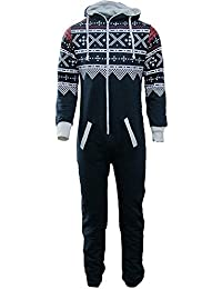 51b0f424e176 Unisex Mens Aztec Army Print Onesie Zip Up All in One Hooded Jumpsuit S-XL