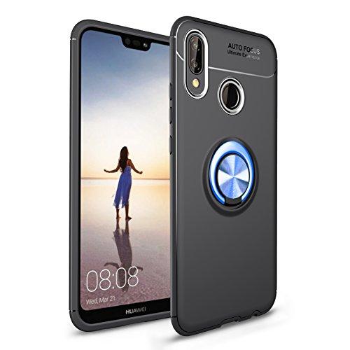 Shinyzone für Huawei P20 Lite Hülle,Schwarz und Blau mit 360 Grad drehbarer Ring Ständer,Ultra Dünn Weich TPU Stoßfest Schutzhülle Kompatibel mit Magnetischer Autohalterung -