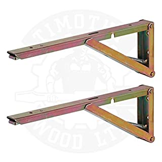 Table Worktop Folding Shelf Support Brackets Wall Mounted Hinged Spring Pair (380mm x 30mm x 120mm) by DJM Direct