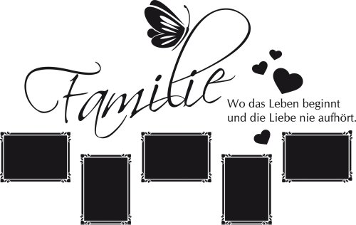 Preisvergleich Produktbild Graz Design 160004_57_070 Wandtattoo Fotorahmen Bilderrahmen Familie Herz Schmetterling