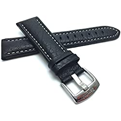 Extra Long (XL) 28mm Black Classic Genuine Leather Buffalo Pattern Watch Strap Band, with White Stitching, NEW!