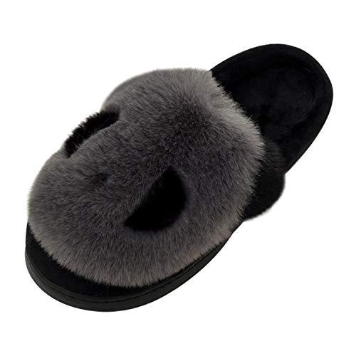 Qzbaoshu pantofole per donna bambini inverno comfort memory gomma  gatto gattino cartoon pantofole indoor (40/41 eu, panda grigio)