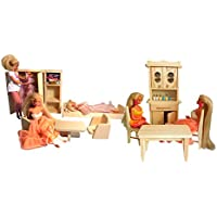 Children's Natural Pine Wooden Toy Set of 2, One Kitchen and One Bedroom For Dolls and Barbie Dolls