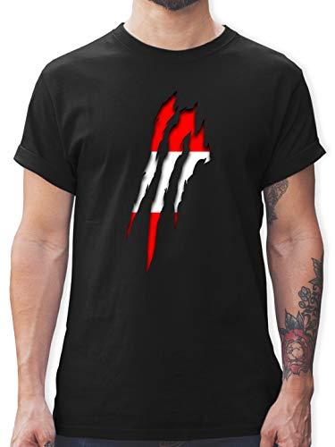 Länder - Österreich Krallenspuren - L - Schwarz - L190 - Herren T-Shirt und Männer Tshirt
