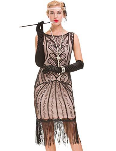 Women's Vintage 1920er Jahre Quaste Kleid - 20er Jahre Pailletten verziert Great Gatsby Kleid (beige, L(UK 14 / EU 42) Bust 37. 8