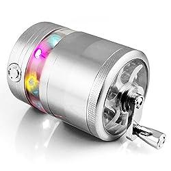 Formax420Hand-Gewürzmühle mit LED-Lampen, 5 verschiedene Aufsätze, für Tabak und Gewürze, ca. 6,3cm silber