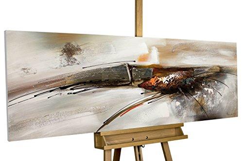 KunstLoft Acryl Gemälde 'Bridge to You' 150x50cm   Original handgemalte Leinwand Bilder XXL   Abstrakt Grau Weiß Orange   Wandbild Acrylbild Moderne Kunst Einteilig mit Rahmen (', Gemälde Original)